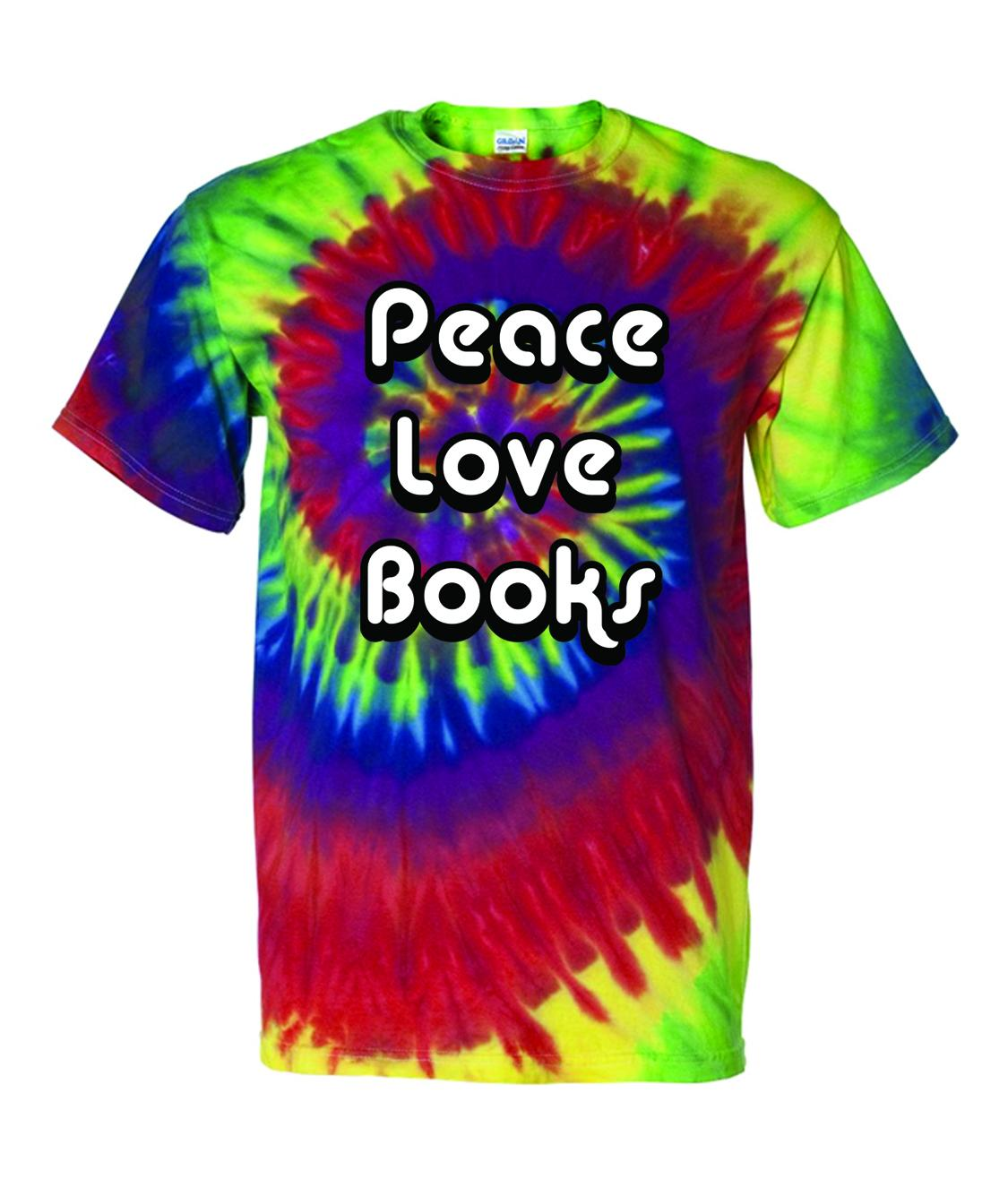 Peace love books t shirt anderson 39 s bookshop for Entire book on shirt